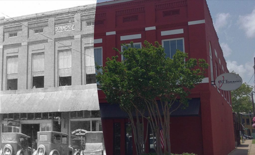 Ott Insurance building 100 years ago and now